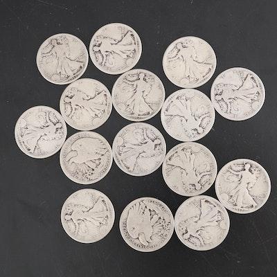 United States Silver Walking Liberty Half Dollars, 1917, Set of Fifteen