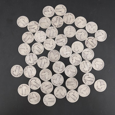 United States Silver Standing Liberty Quarters, Set of Forty-Six