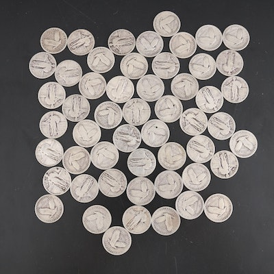 United States Silver Standing Liberty Quarters, Set of Fifty-Three