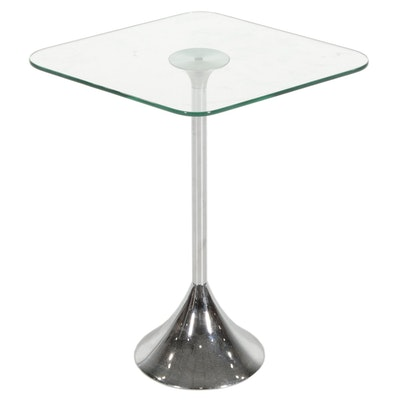 David Quan for Umbra Modern Glass Top Chrome Side Table