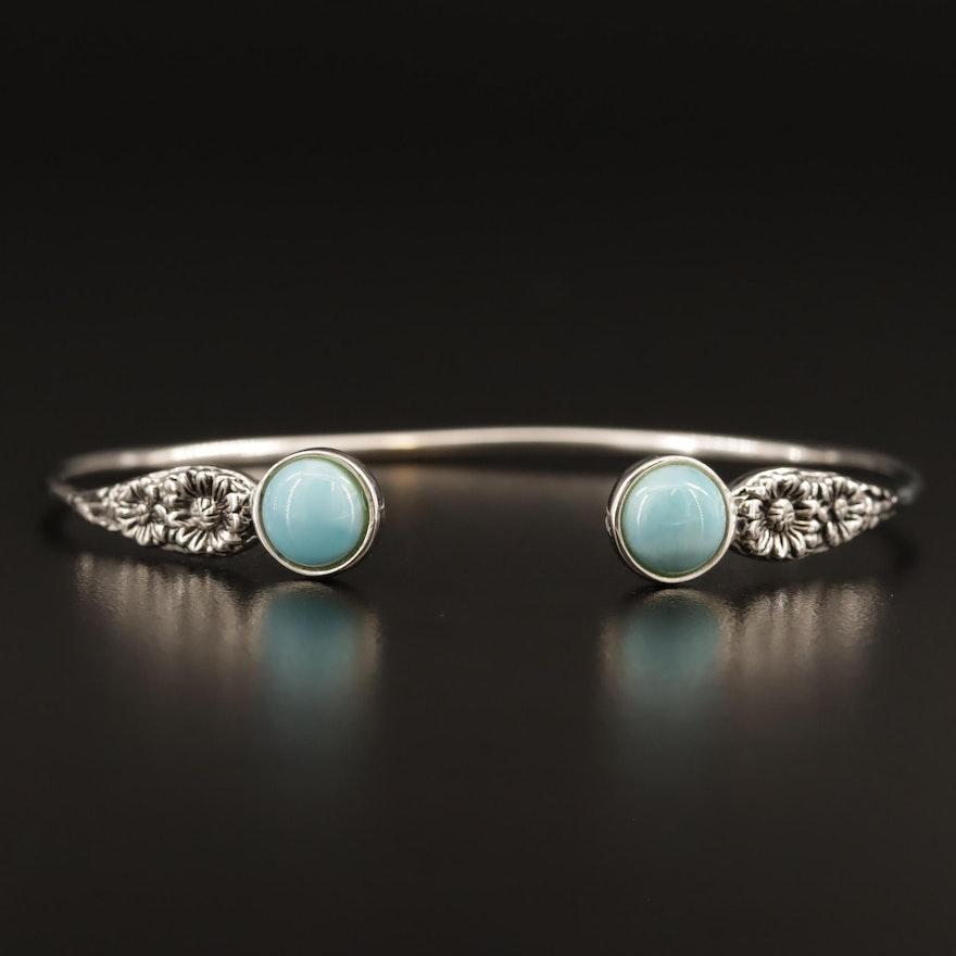 Sterling Larimar Cuff Bracelet