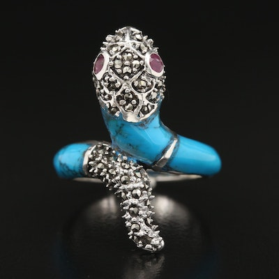 Sterling Silver Ruby, Marcasite and Blue Enamel Snake Ring