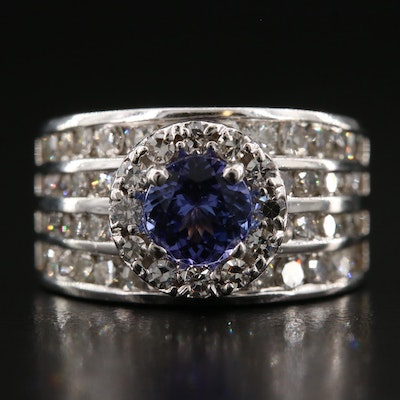 14K Gold Tanzanite and Diamond Ring with Diamond Halo