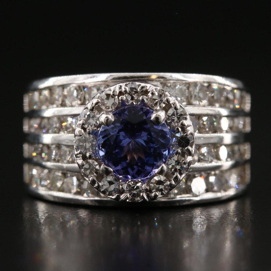 14K Gold Tanzanite and Diamond Ring with Diamond Halo
