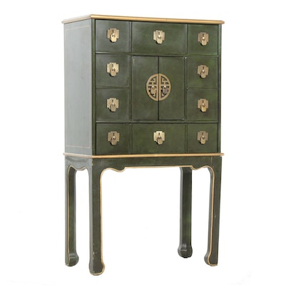 Drexel Chinese Green Lacquered Cabinet, Late 20th Century
