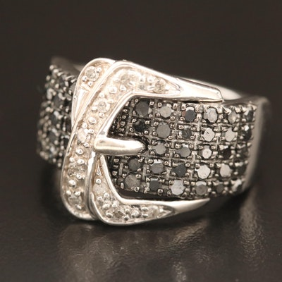 Sterling Silver Diamond Buckle Ring