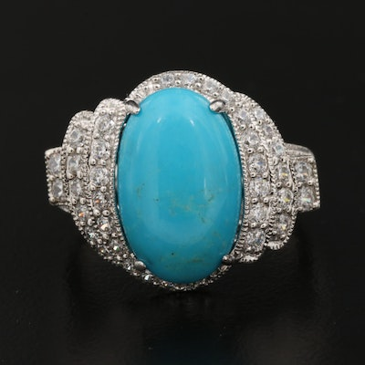 Sterling Turquoise and Cubic Zirconia Ring