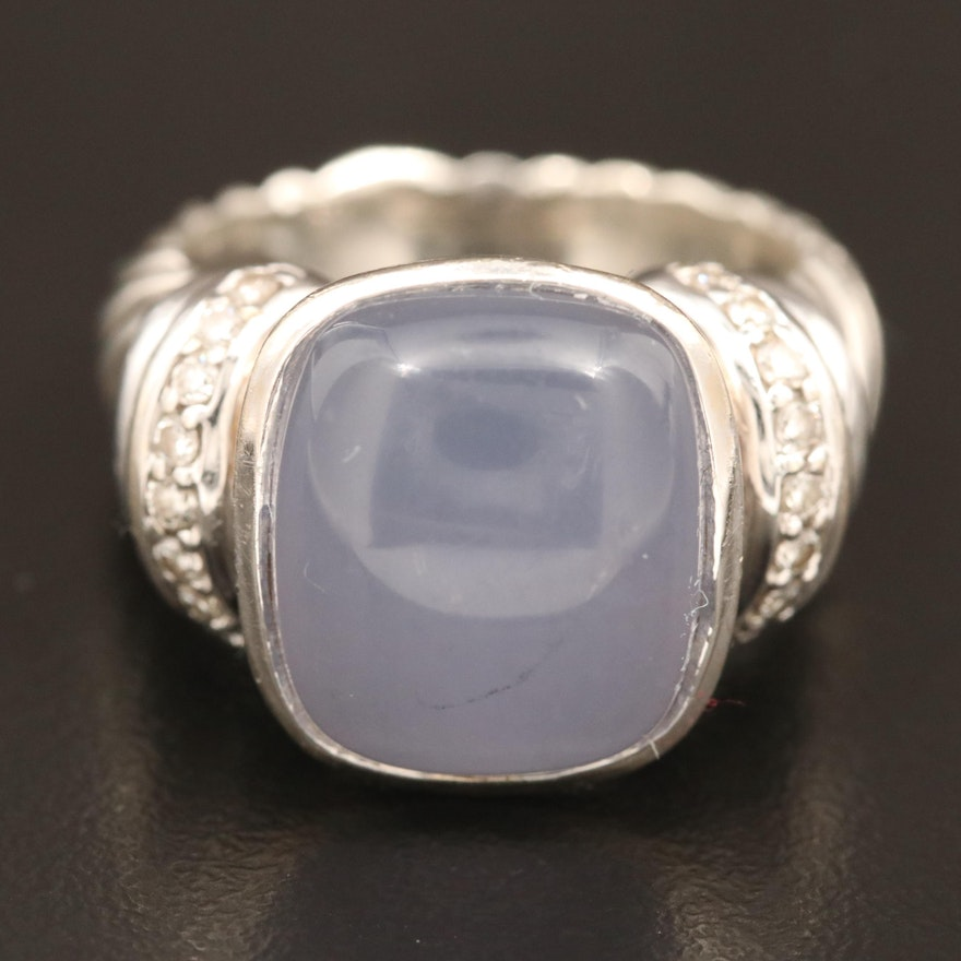 David Yurman Sterling Silver Chalcedony and Diamond Ring with 18K Accent