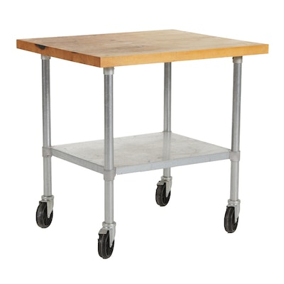 Duke Butcher Block Top Industrial Kitchen Cart