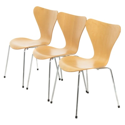 Set of Three Arne Jacobsen for Fritz Hansen Danish Modern Series 7 Chairs, 1996