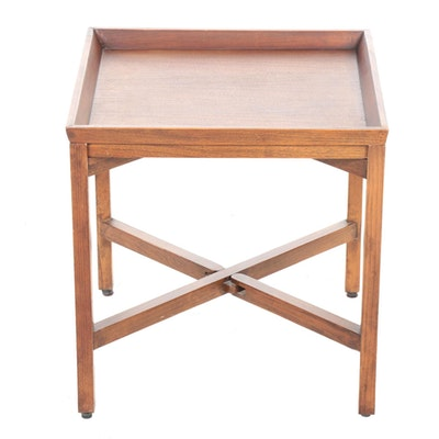 Mahogany-Stained Hardwood Folding Butler's Side Table