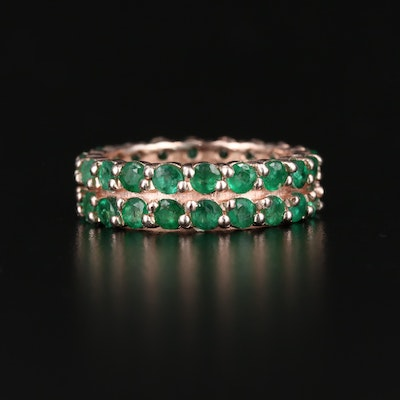 Sterling Silver Emerald  Eternity Band