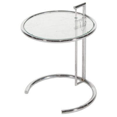 Chrome and Glass Adjustable-Height End Table, after a Design by Greta Grossman