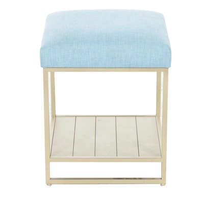 Galleon Industries, Inc. Blue-Upholstered Metal Vanity Stool