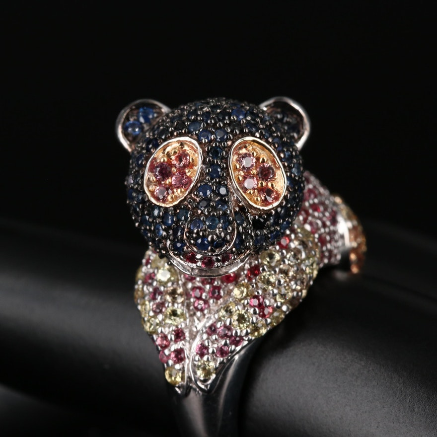 Sterling Silver Fancy Colored Sapphire Ring with Lemur Motif