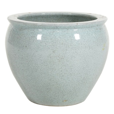Ceramic Fishbowl Planter with Crackle Glaze