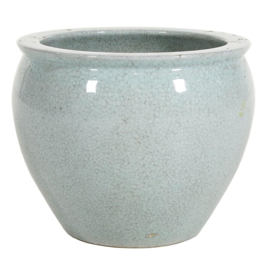 Ceramic Fishbowl Planter with Crackle Glaze
