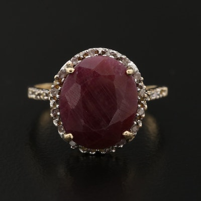 10K Ruby Ring with Diamond Accents