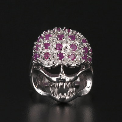 Sterling Silver Ruby Skull Ring