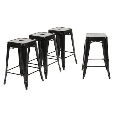 Four Industrial Style Black Metal Barstools
