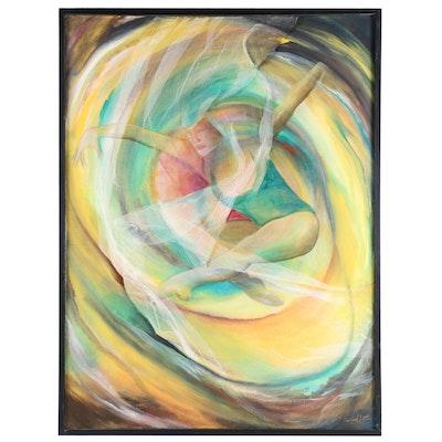 "Farshad Lanjani Mixed Media Painting ""Magic Dance"", 2017"