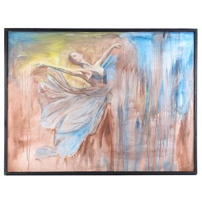 "Farshad Lanjani Acrylic Painting ""Dancing in the Rain"", 2017"