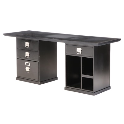 Contemporary Ebonized Wood Office Desk with File Cabinet and Shelving