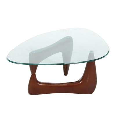 Mid Century Modern Glass Top Coffee Table, 20th Century