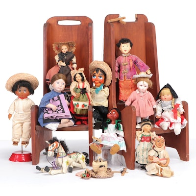 Handcrafted Wood Children's Chairs and Hand-Painted Bisque and Travel Dolls
