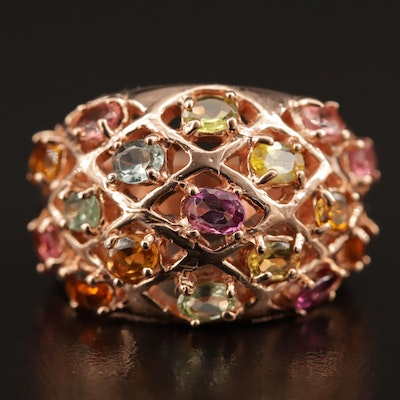 Sterling Silver Amethyst, Citrine and Pink Tourmaline Openwork Dome Ring