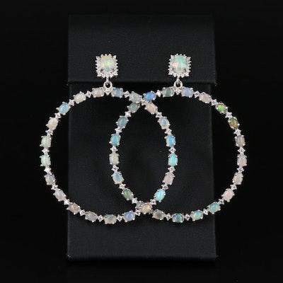 Sterling Silver Opal and Cubic Zirconia Hoop Earrings