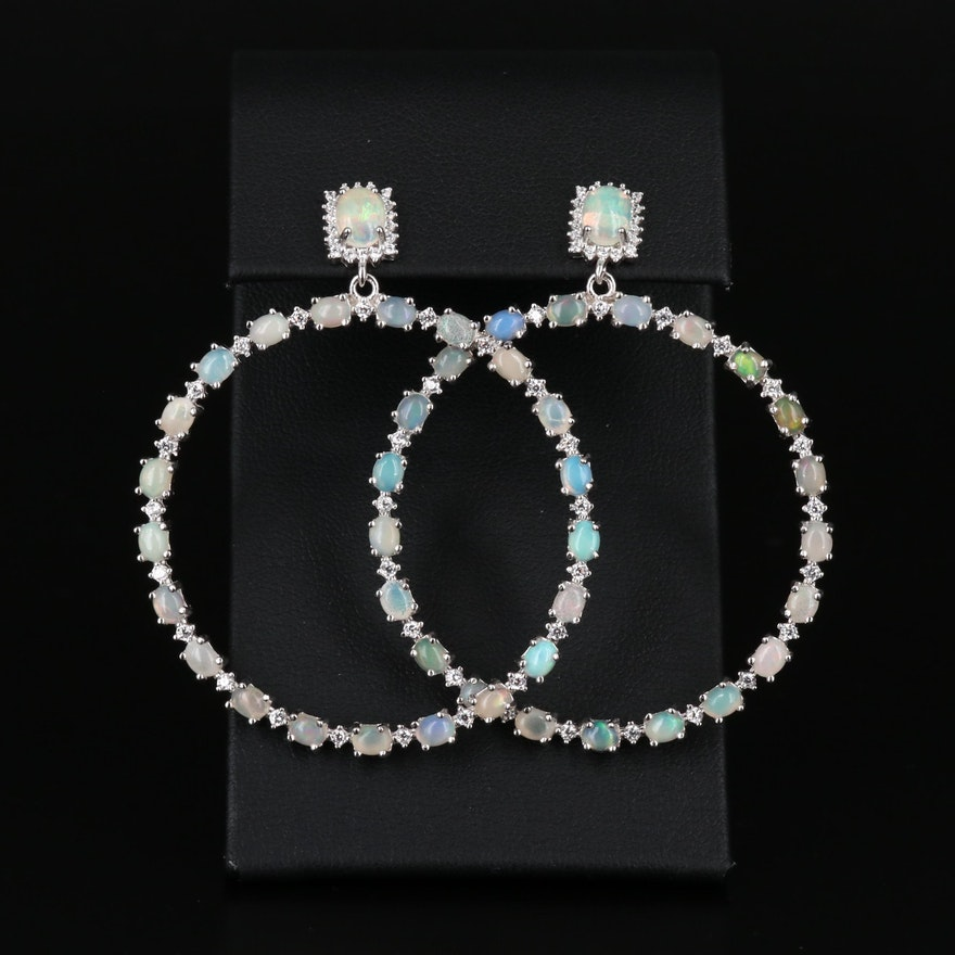 Sterling Silver Opal and Cubic Zirconia Hoop Earrings