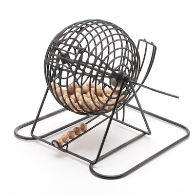 Bingo Tombola Wire Cage with Wooden Game Balls