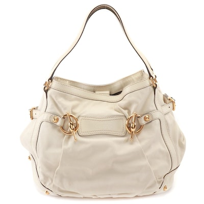Gucci Jockey Hobo Bag in il Osso Grained Leather