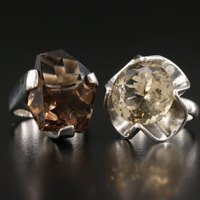 Sterling Silver Quartz and Smoky Quartz Rings Including Mexican Style Ring