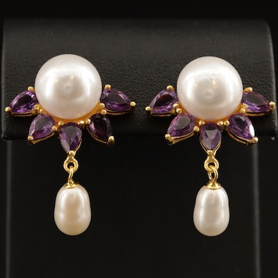 Sterling Silver Pearl and Amethyst Earrings