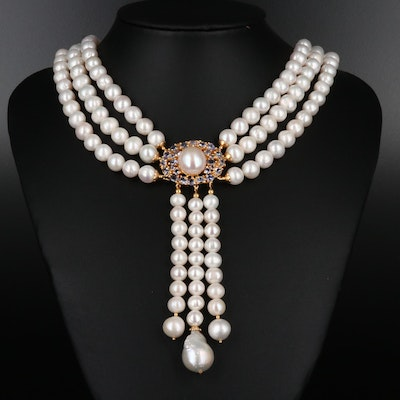 Triple Strand Pearl and Tanzanite Necklace with Sterling Findings