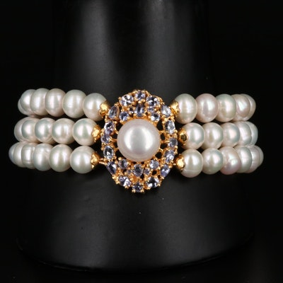 Sterling Silver Cultured Pearl and Tanzanite Triple Strand Bracelet
