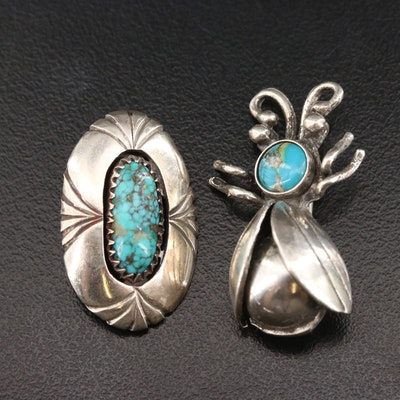 William T. Johnson Navajo Diné Sterling Turquoise Converter Pin with Insect Pin
