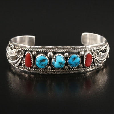Southwestern Style Sharon Cisco Navajo Diné Sterling Turquoise and Coral Cuff