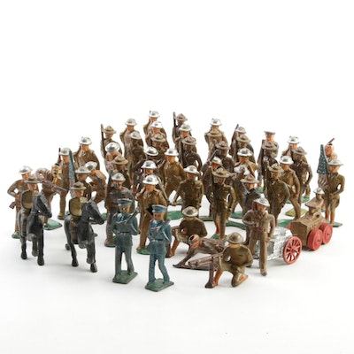 Manoll and Barclay United States Military Metal Toy Soldiers, Mid-20th C.