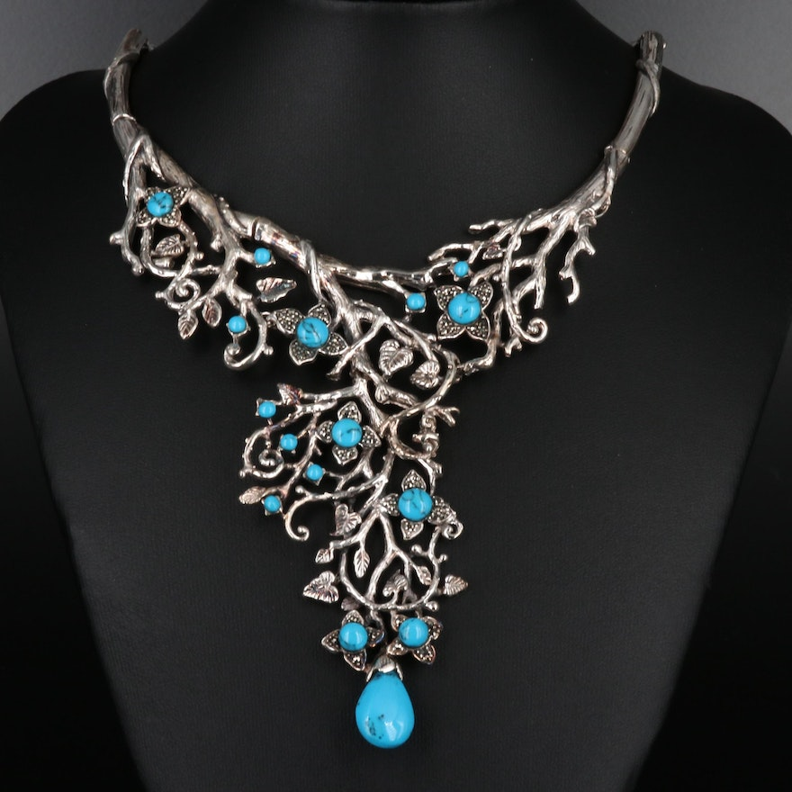 Sterling Silver Turquoise and Marcasite Nature Motif Bib Necklace