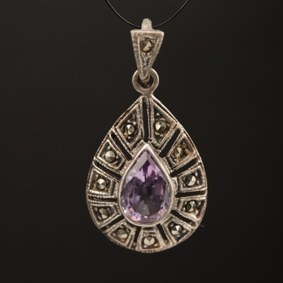 Sterling Silver Amethyst and Marcasite Pendant