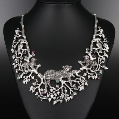 Sterling Silver Animal Kingdom Bib Necklace