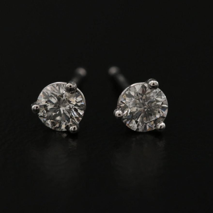 14K Martini Style 0.46 CTW Diamond Earrings