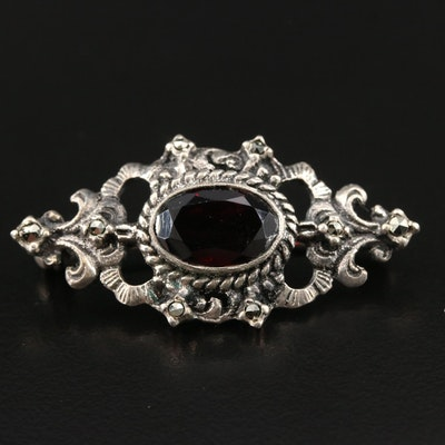 Vintage Sterling Silver Garnet and Marcasite Brooch