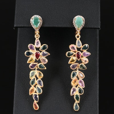 Sterling Emerald and Sapphire Drop Earrings