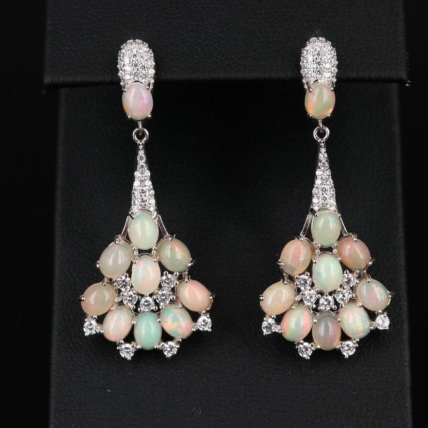 Sterling Silver Opal and Cubic Zirconia Dangle Earrings