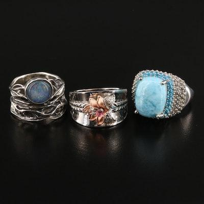 Selected Sterling Silver Gemstone Rings Featuring Larimar