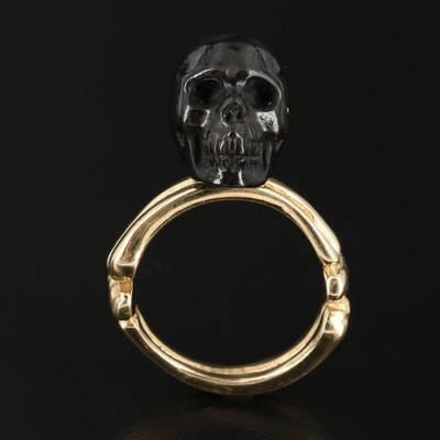 14K Black Onyx Carved Skull Ring
